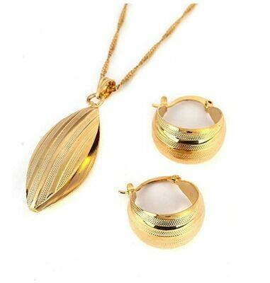 የጆሮ እና የአንገት ወርቅ ቅብ አበባ Ethiopian necklace, earrings set Flower