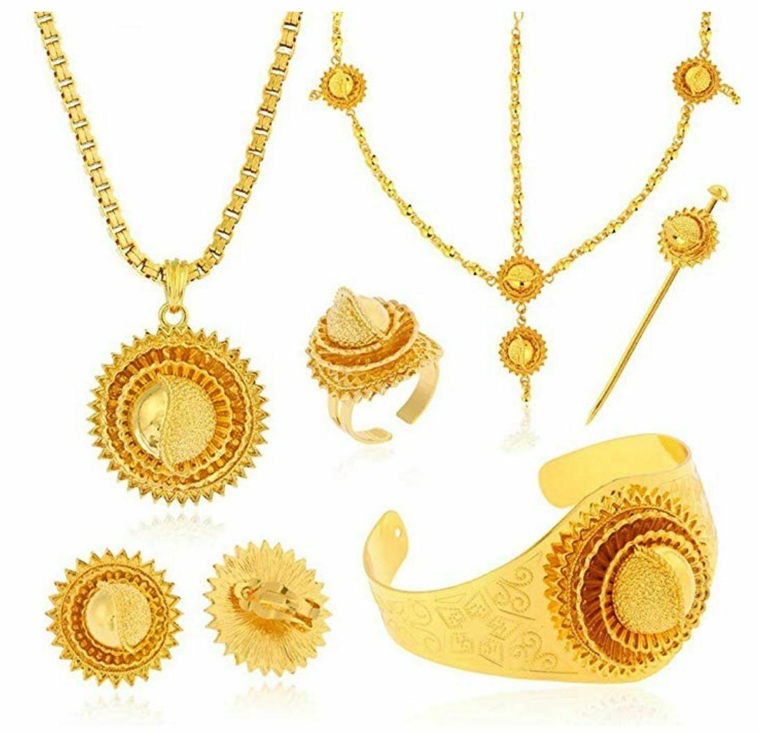 የጆሮ፣ አንገት እና ቀለበት ወርቅ ቅብ የሰርግ ጌጣጌጥ Ethiopian necklace, earrings and ring set wedding set