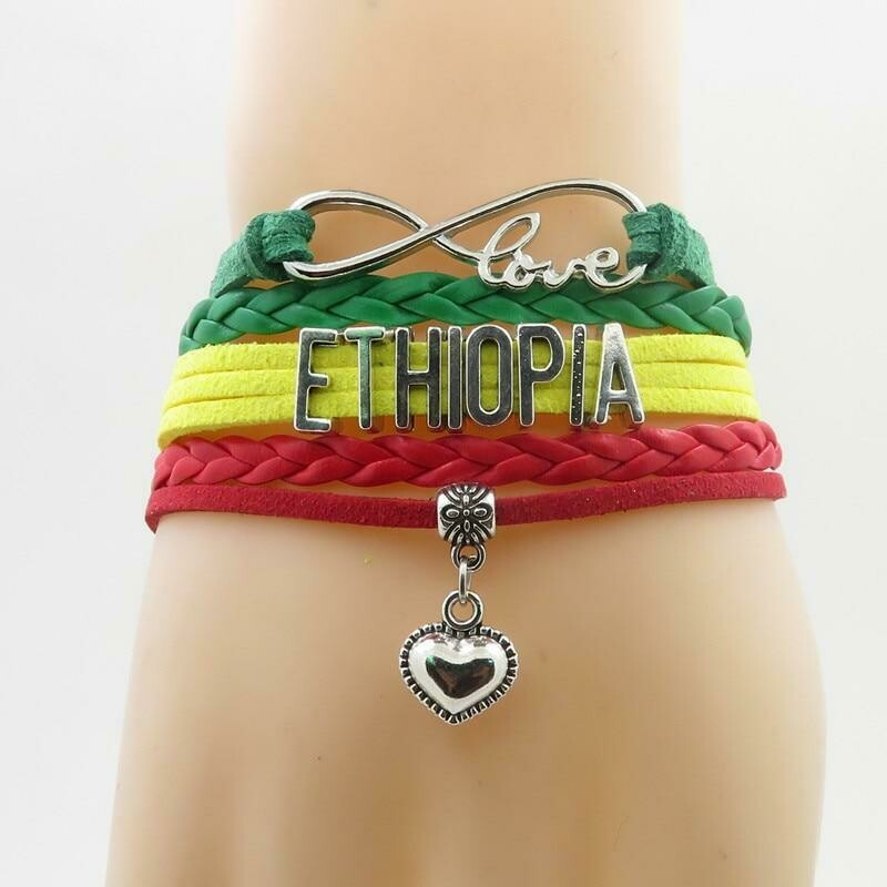 ኢትዮጵያ የሚል ያለበት የእጅ ጌጥ Ethiopian Bracelet heart love for woman and man