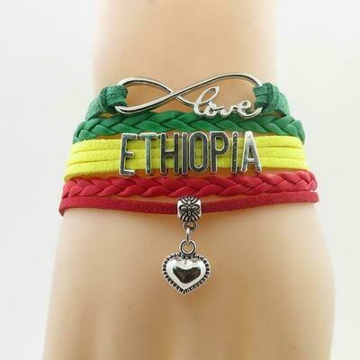 ኢትዮጵያ የሚል ያለበት የእጅ ጌጥ Ethiopian Bracelet heart love for woman and man