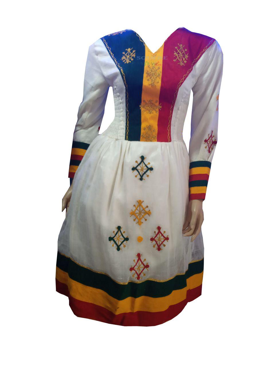 የኢትዮጵያ ባንዲራ ያለበት አጠር  ያለ የሀበሻ ቀሚስ  Ethiopian Traditional Short Dress