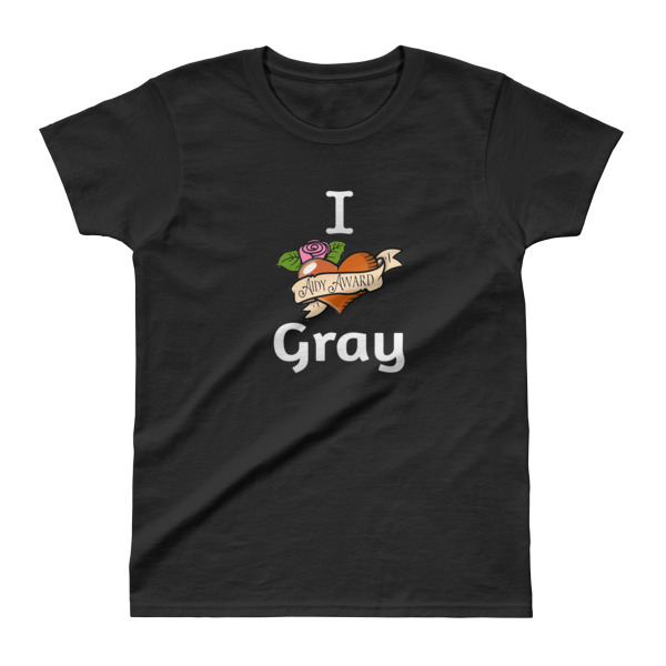 I heart Gray Black Ladies' T-shirt 00012