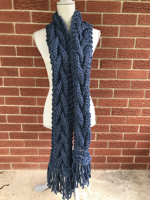 Handknit Chunky Cable Knit Scarf - Blue Scarf - Winter Scarf