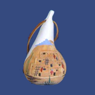 Pueblo Dwelling Clay Gourd