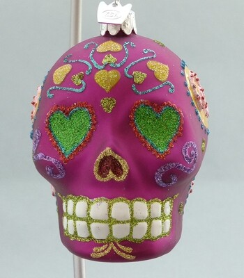 Day of the Dead Glass Skull -Fuchsia