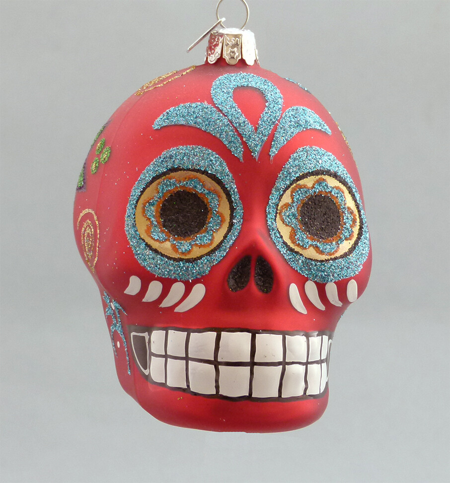 Day of the Dead Glass Skull -Red