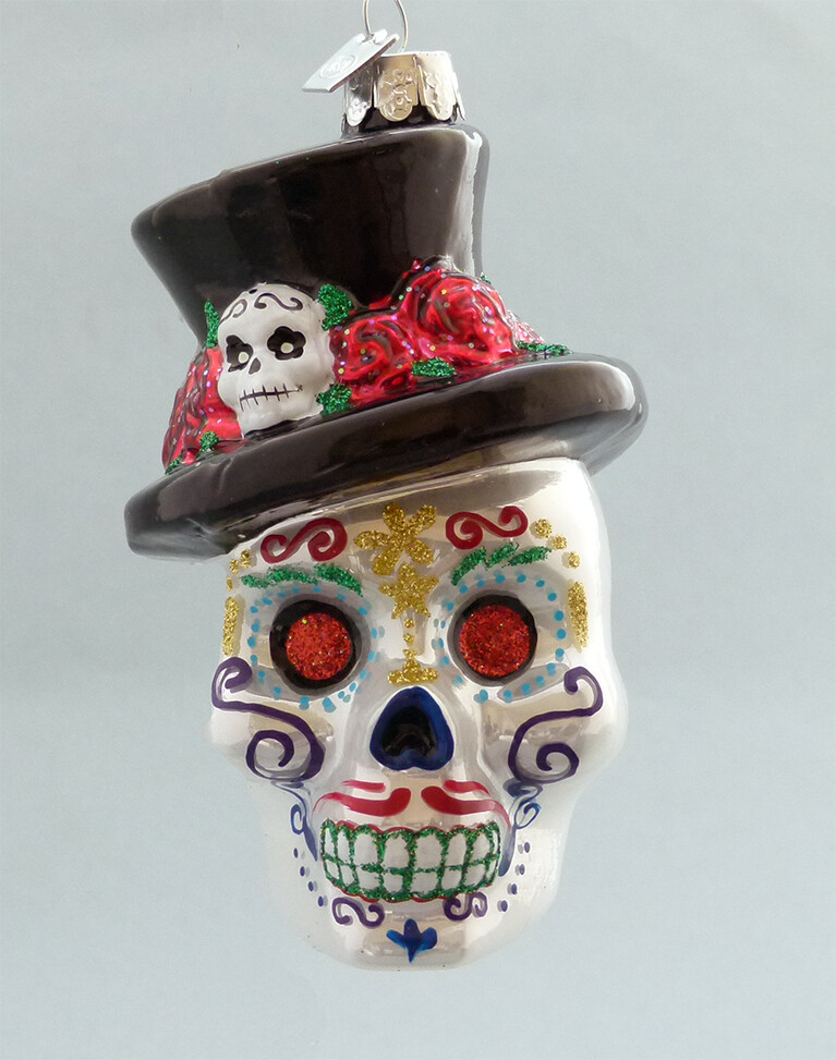 Day of the Dead Glass Skull -with Hat, Red Eyes