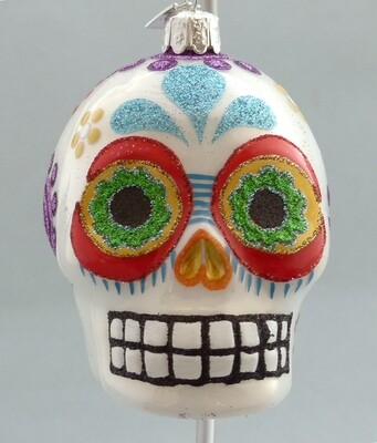Day of the Dead Glass Skull -White