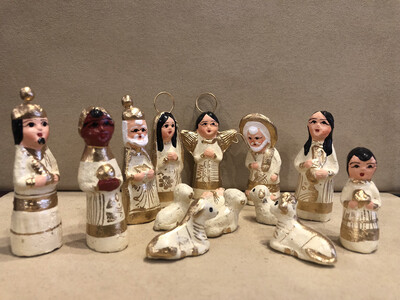 Mexican Clay Nativity-ivory