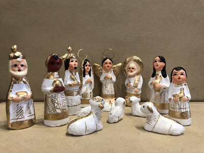 Mexican Clay Nativity-white