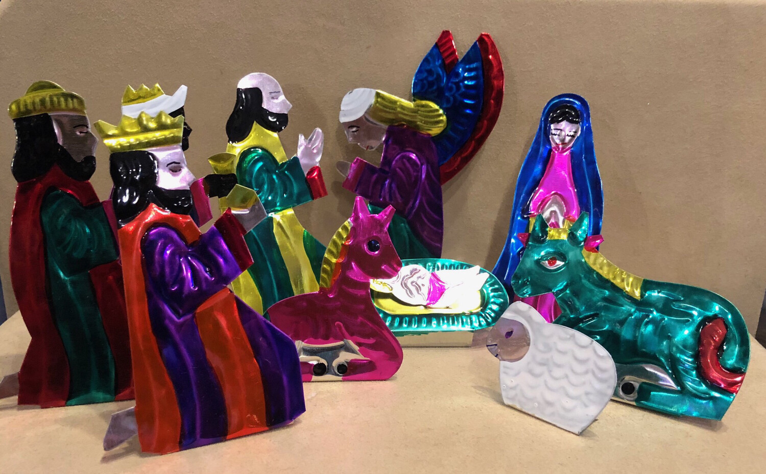 Mexican Painted Tin Nativity- Large