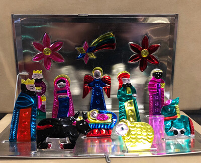 Mexican Painted Tin Nativity- Pop Up