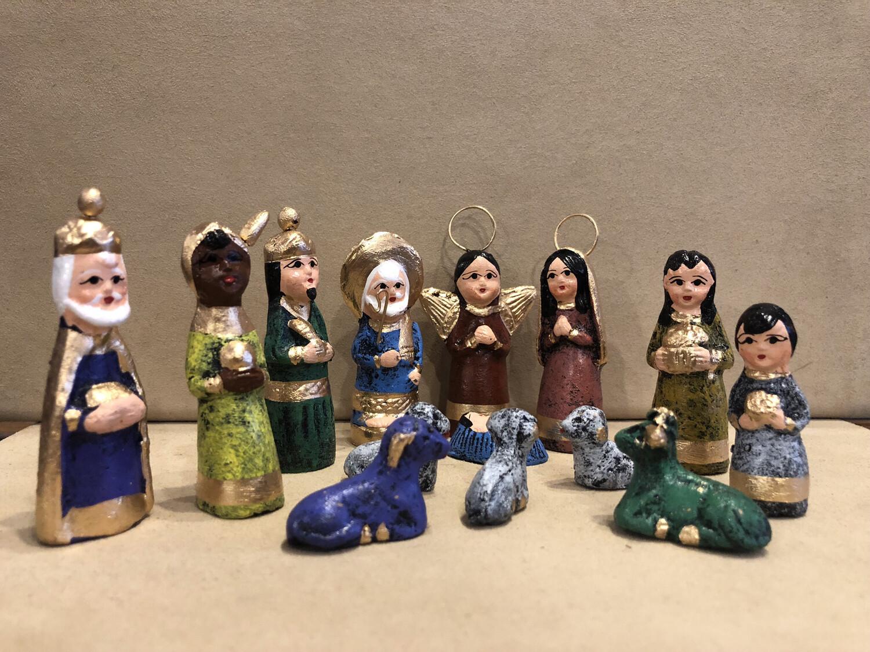 Mexican Clay Nativity -multi color