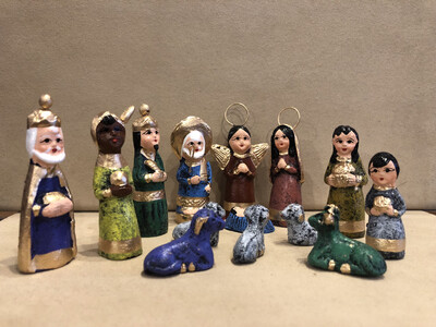 Mexican Clay Nativity -multi color