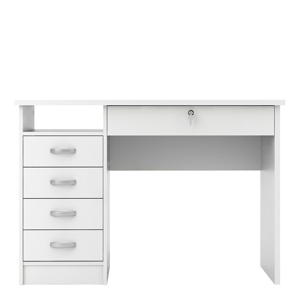 Function Plus Office Desk 5 Drawers in White