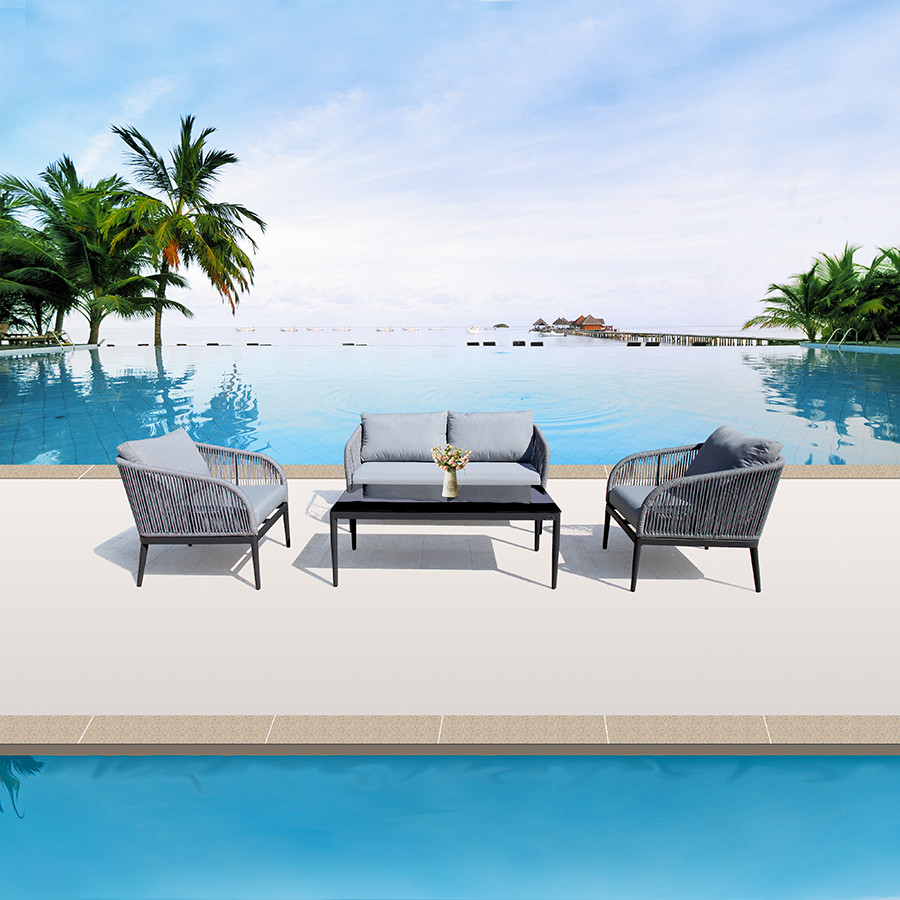 Outdoor Patio Rope 4pc Sofa, Chair & Table Set
