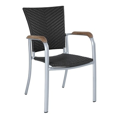 Garden wicker Dining Chair with Arm and legs