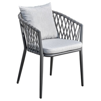 Outdoor Chair Aluminum Frame Rope Woven Fabric