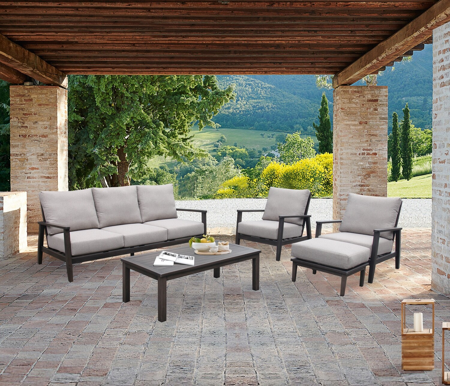 5-Piece Aluminum Outdoor Sofa Conversation Set with Cushions
