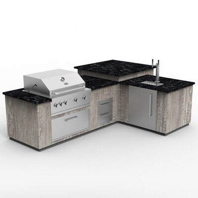 Vanrios Grill Outdoor Kitchen Island with 4-burner in Aluminum KI01