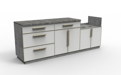 Modern Aluminum PVC-board Outdoor Kitchen Cabinet Set