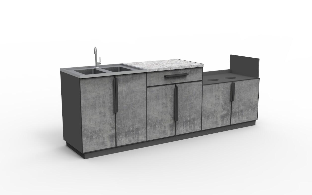 Modern Aluminum PVC-board Outdoor Kitchen Cabinet