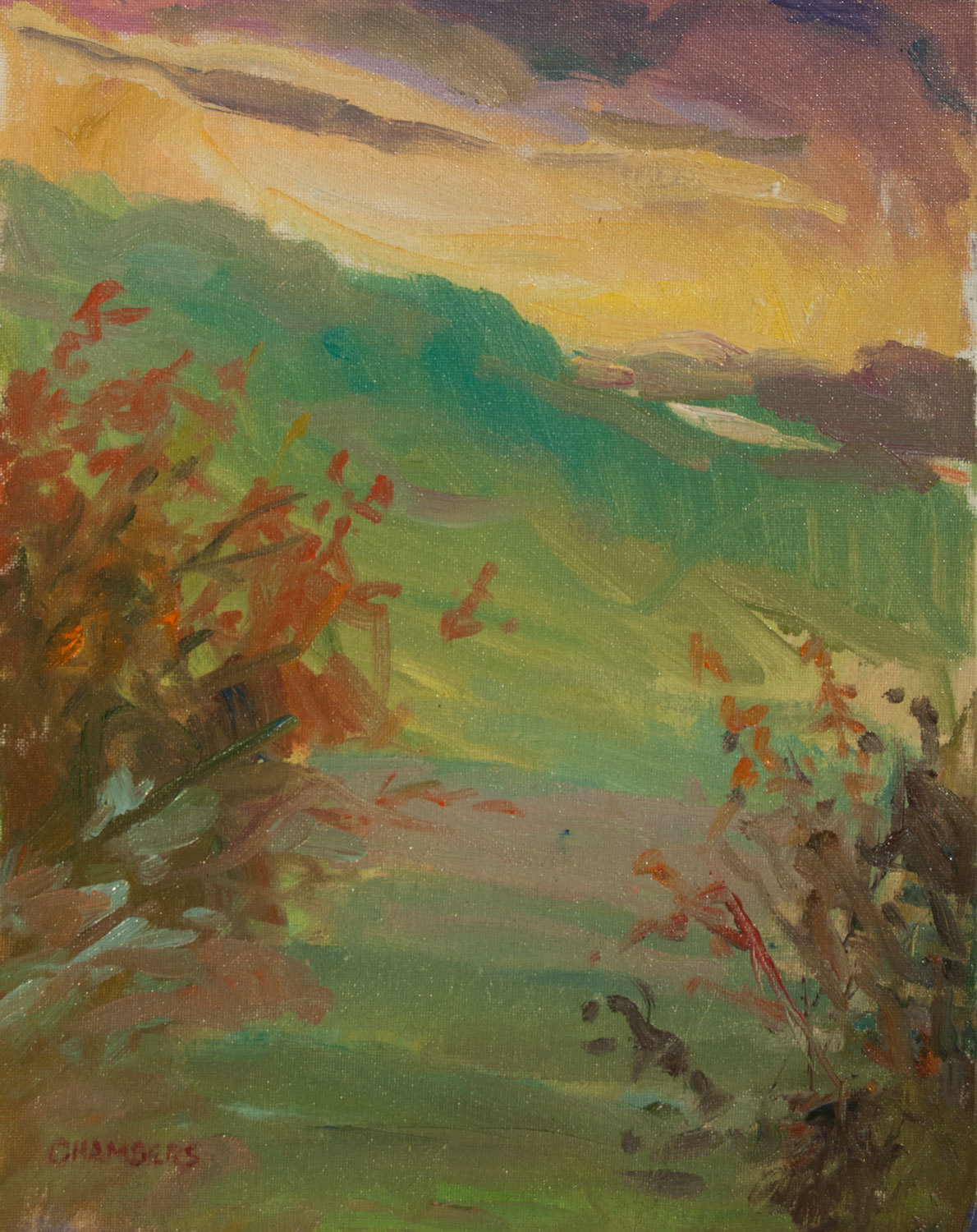 """Sunset at Bears Den on the AT, 14x11"""" Oil 102206"""