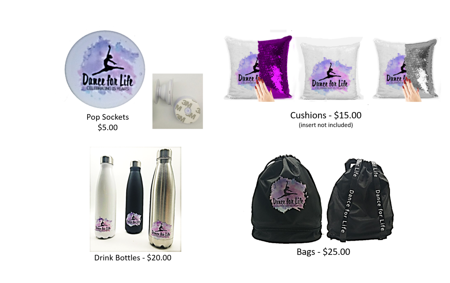 Drink Bottles / Bags / Cushions / Pop Sockets - Prices starting @