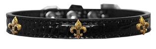 Bronze Fleur De Lis Widget Croc Dog Collar Black Sz18