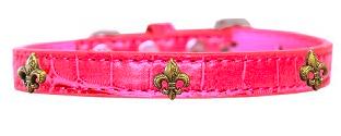 Bronze Fleur De Lis Widget Croc Dog Collar Bright Pink Sz 14 Mirage Pet Products