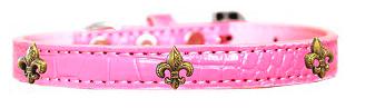 Bronze Fleur De Lis Widget Croc Dog Collar Light Pink Sz 18