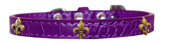 Bronze Fleur De Lis Widget Croc Dog Collar Purple Sz 12