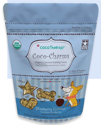 COCO THERAPY COCO CHARMS TRAINING TREATS BLUEBERRY COBBLER 5oz