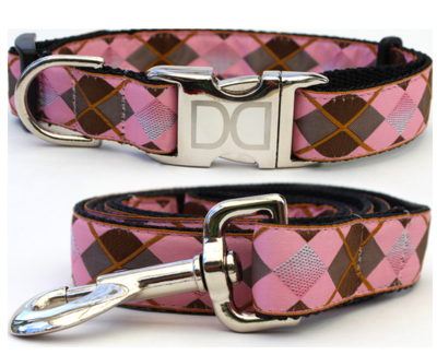 Diva Dog Argyle Dog Collar Xs/s And Leash 5' Rose Gold Buckle