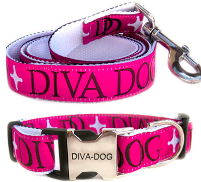 Diva Dog Monogram Collar M/l And Leash Set