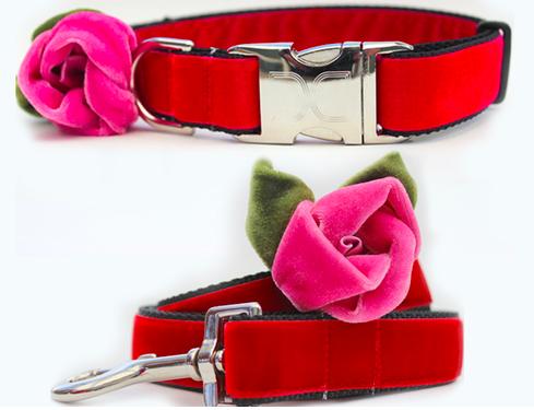 "Diva Dog Rosie Red Velvet Leash 1"" X 4' And Collar M/l"