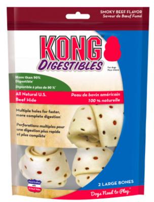 KONG DIGESTIBLES MEDIUM BEEFHIDE BONES 3