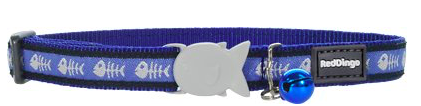 Red Dingo Cat Collar Fish Bone Dark Blue
