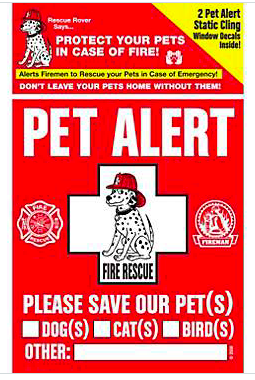 RescueRover Pet Alert Fire Safety Static Cling Decal