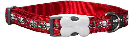 Red Dingo Cat Collar Skull And Roses Red 12 Mm