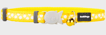 Red Dingo Cat Collar White Spots On Yellow 12 Mm