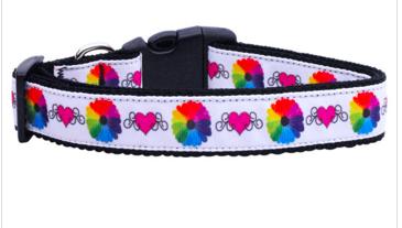 Technicolor Love Nylon Ribbon Dog Collars Large