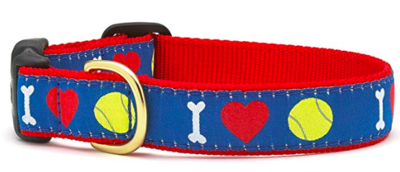 UP COUNTRY I HEART TENNIS DOG COLLAR MED NARROW