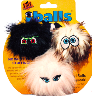 VIP SILLY SQUEAKER BALLS SMALL BLACK BROWN PINK