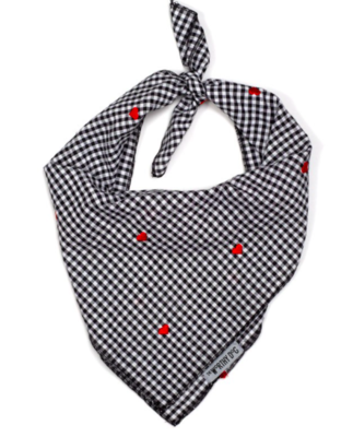 WORTHY DOG GINGHAM HEARTS TIE LARGE