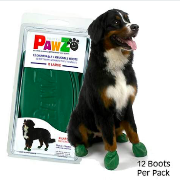 PAWZ RUBBER DOG BOOTS GREEN XL 12 CT