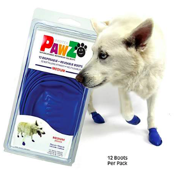 PAWZ RUBBER DOG BOOTS  MEDIUM BLUE 12 CT