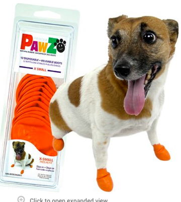 PAWZ RUBBER DOG BOOTS  XSMALL ORANGE 12 CT