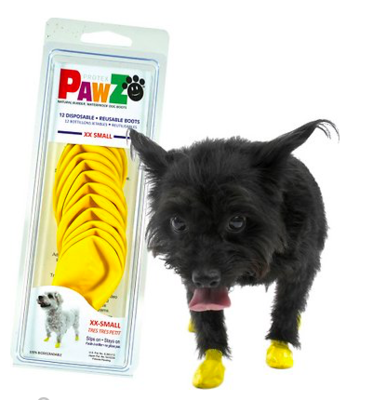PAWZ RUBBER DOG BOOTS  XXSMALL YELLOW 12 CT