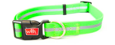 WIGZI WATERPROOF REFLECTIVE DOG COLLAR NEON GREEN LARGE 18
